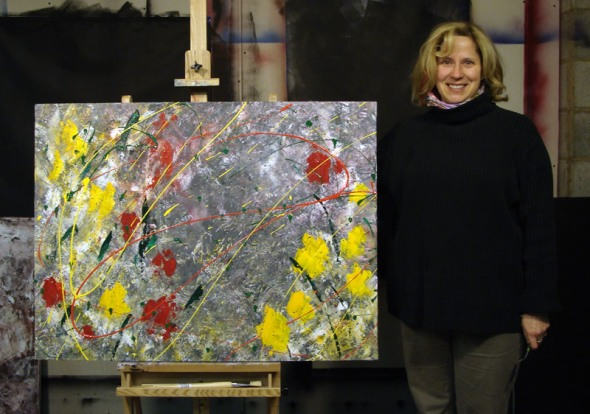 Amy with her first abstract painting